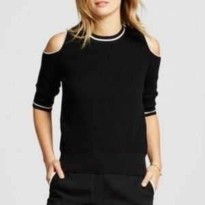 Who What Wear Black Ribbed Cold Shoulder Sweater